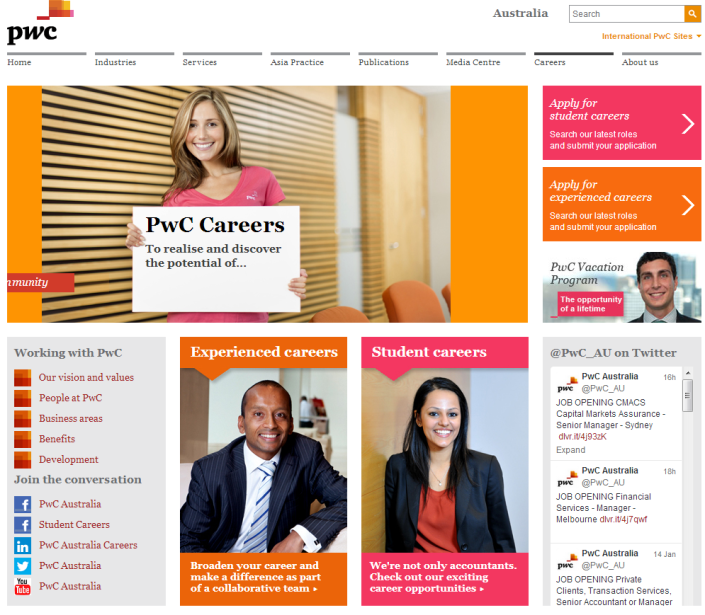 pwc career site